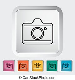 Camera. Outline icon on the button. Vector illustration.