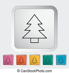 Conifer outline icon on the button Vector illustration