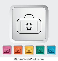 First aid outline icon on the button Vector illustration