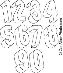 3d black and white numbers