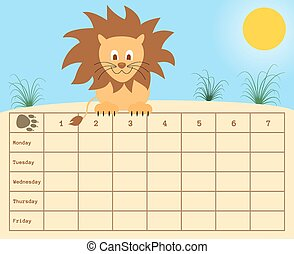school timetable with lion