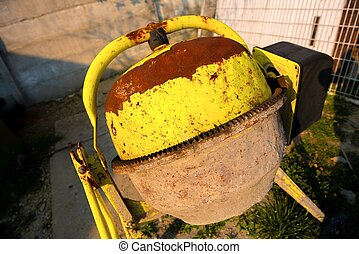 Cement mixer at a construction site