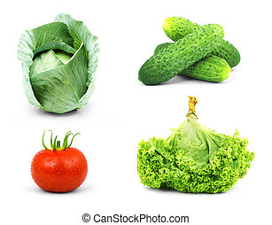 Low-calorie raw vegetables isolated on white background