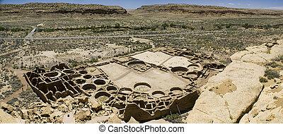 Chaco Canyon Ruins - Panorama of Ancient Ruins at Chaco...