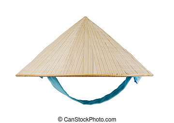 Vietnamese conical hat with blue ribbon isolated on white,...