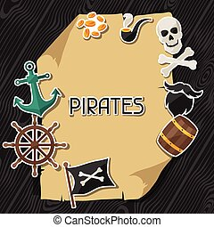 Background on pirate theme with stickers and objects
