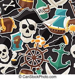 Seamless pattern on pirate theme with stickers and objects.