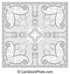 unique coloring book square page for adults - floral carpet...