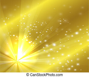 A golden color design with a burst and rays