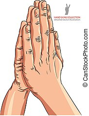 Praying hands, detailed vector