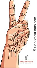 Victory hand sign, detailed vector