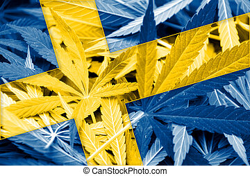 Sweden Flag on cannabis background Drug policy Legalization...