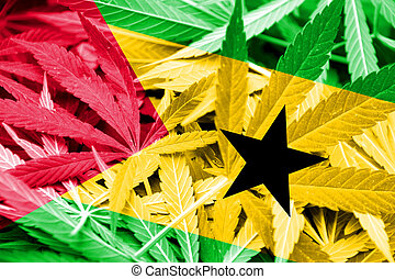 Sao Tome and Principe Flag on cannabis background. Drug...