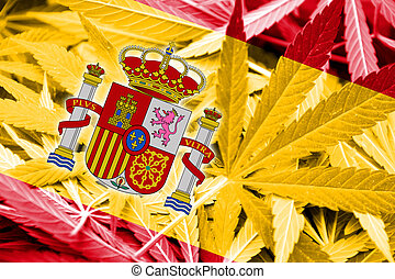 Spain Flag on cannabis background Drug policy Legalization...