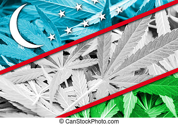 Uzbekistan Flag on cannabis background. Drug policy....