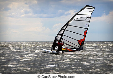 Windsurfing event in Baltic sea - windsurfers in Baltic sea...