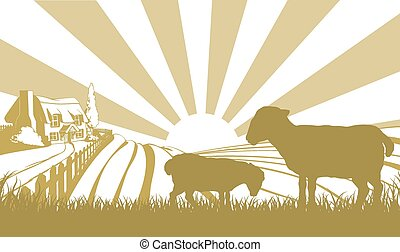 Sheep farm scene - An illustration of a farm house thatched...