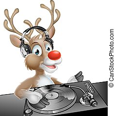DJ Christmas Reindeer - An illustration of a cute cartoon...