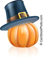 Thanksgiving pilgrim hat pumpkin - Cartoon thanksgiving...