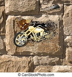 motorcycle on a stone wall