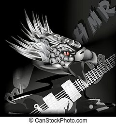 iron eagle with a guitar in its cla - vector illustration...