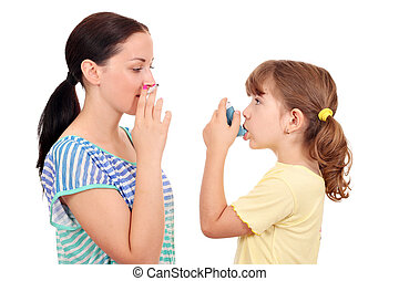 girl smoking cigarette and little girl with inhaler
