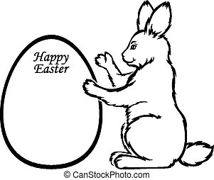 Easter Rabbit holds greeting frame in form egg
