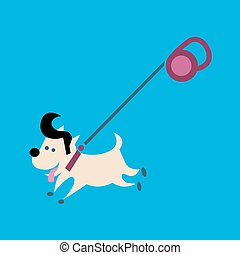 Small dog on a leash - Little joyful fashionable dog on a...