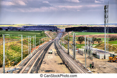 High-speed railway LGV Est phase II under construction near...