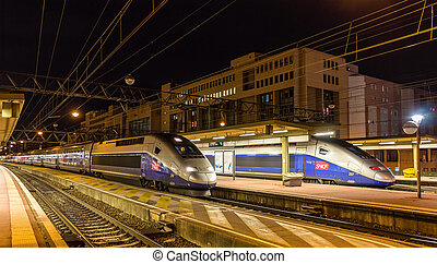 LYON, FRANCE - JANUARY 07: SNCF TGV Duplex trains on January...