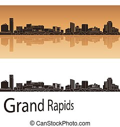 Grand Rapids skyline in orange background - Grand Rapids...