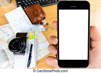 travel preparations - getting ready with smart phone for...