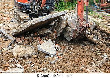 Backhoe car working in construction site