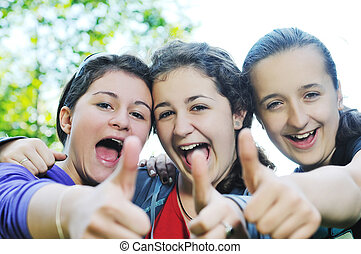 teen girls group outdoor - happy teen girls group outdoor...