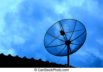 sattelite dish on twilight sky