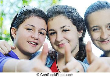 teen girls group outdoor - happy teen girls group outdoor...