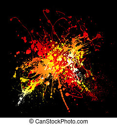 hot ink splat - Bright red hot ink splat design with black...