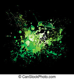 dribble green splat - illustrated Abstract green and black...