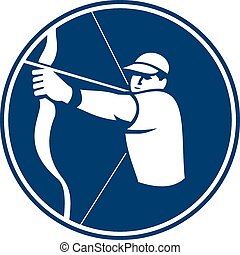 Archer Bow Arrow Circle Icon - Icon illustration of an...