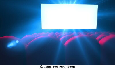 Empty modern cinema with flickering white screen