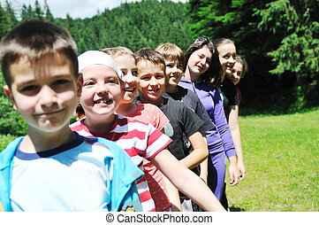 child group outdoor - happy children group have fun outdoor...
