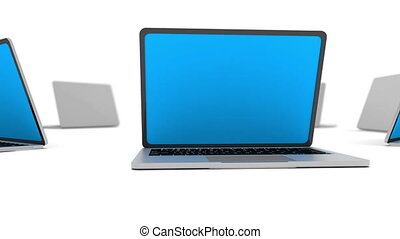 Many laptops in a circle isolated on white.