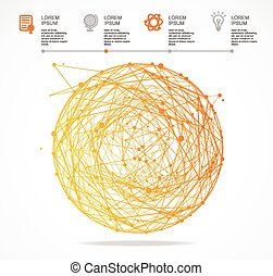 Vector abstract orange sphere infographics Flat Design -...