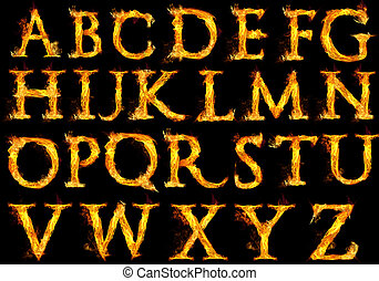 Fire Alphabet Letters - Capital letters of the alphabet with...