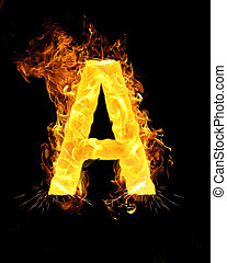 A letter on fire - Capital B letter of the alphabet on fire