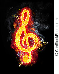 Fire Musical G Clef - Fire g clef (sol key) character badge...
