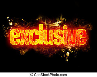 Fire Text Exclusive - Fire exclusive word with burning...