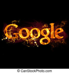 Google Logo on Fire - Google logo in burning flames.
