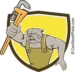 Bulldog Plumber Monkey Wrench Shield Cartoon - Illustration...