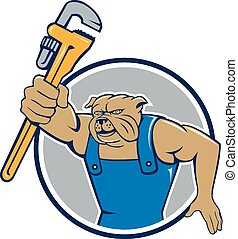 Bulldog Plumber Monkey Wrench Circle Cartoon - Illustration...